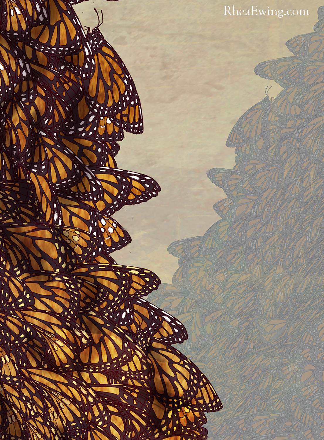"""<strong>Community (detail)</strong> <br>glicée, pencil, ink, and papercut <br>32X48""""  2012  original sold to private collector"""